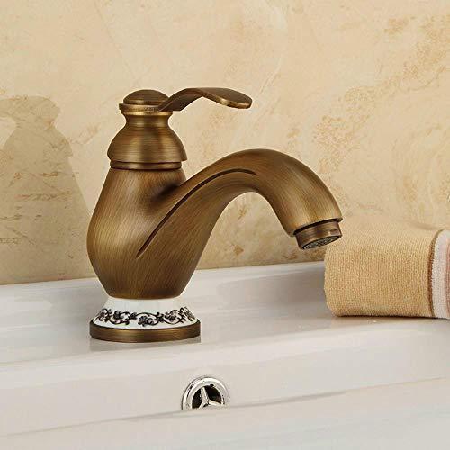 Cuenca Grifos de latón antiguo montado cubierta del baño grifo del fregadero sola manija del agujero de cerámica Deco WC WC mezclador grifo grifos DZ-8009F, Brown, bronce