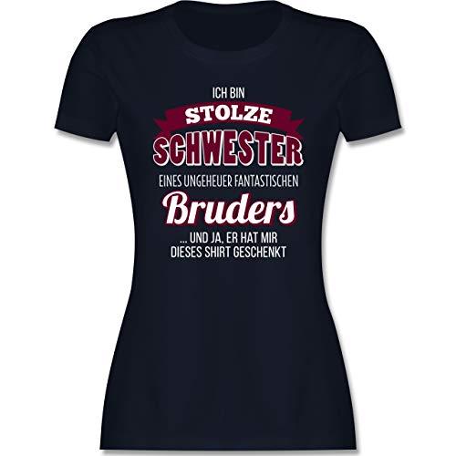 Schwester & Tante - Ich Bin stolze Schwester - XL - Navy Blau - Tshirt Schwester sprüche - L191 - Tailliertes Tshirt für Damen und Frauen T-Shirt