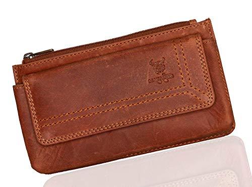 MATADOR Echt Leder Universal Handy-Tasche Holster Gürteltasche Klettverschluss Quer für Handys bis 6,9 Zoll inkl. Geschenk-Box (Antik Braun)