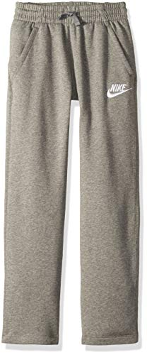 NIKE Sportswear Boys' Club Fleece Open Hem Pants, Carbon Heather/White, Large