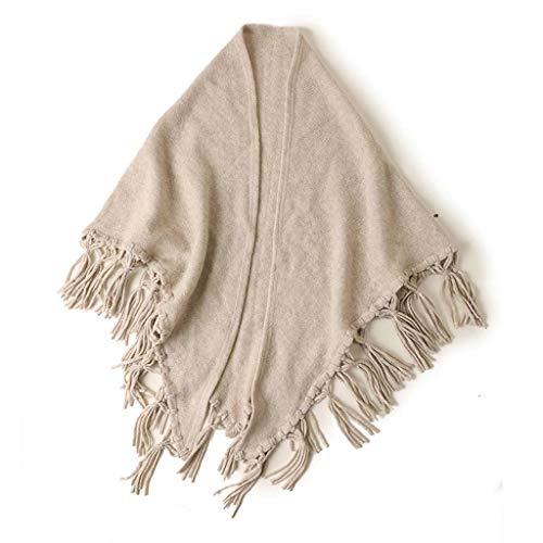 SUFLANG Dames sjaals Sjaal omzoomd opknoping oor warme mantel/mantel herfst winter zachte warme dame driehoek sjaal elegante sjaals Beige