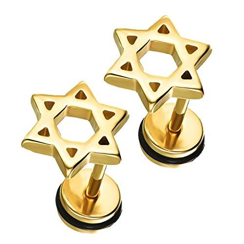 joyMerit Pendientes de Botón de Acero Inoxidable con Forma de , Regalo de Joyería para Hombre Y Mujer - Oro