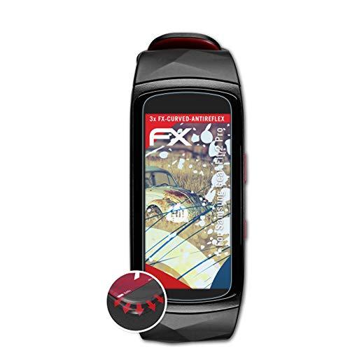 atFoliX Schutzfolie kompatibel mit Samsung Gear Fit 2 Pro Folie, entspiegelnde & Flexible FX Bildschirmschutzfolie (3X)