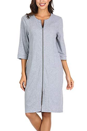 Zexxxy Kimono Morgenmantel Damen mit Reißverschluss Bade Robe Pyjama Schwangere Hauskleid Grau XXL=44-46
