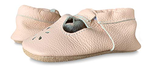 Lucky Love Baby & Toddler Soft Sole Prewalker Skid Resistant Boys & Girls Shoes (7M US, T-Strap Blush)