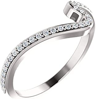 Jewels By Lux 14k White Gold 1/6 CTW Diamond Wedding Ring Band for 4.4mm Round & 5.2mm Round Engagement Ring