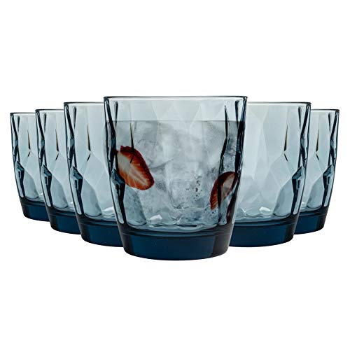 Bormioli Rocco boire Diamond Glass Dimpled Gobelets - Ocean Blue - 300ml - Paquet de 6