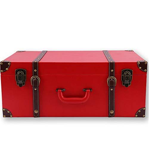 Wguili Truhen Retro rote Hochzeits-Box Braut Aussteuer-Kasten-Hochzeit Box Koffer Mitgift Koffer Storage Box Geeignet für Schlafzimmer, Wohnzimmer (Color : RED, Size : 20inch)