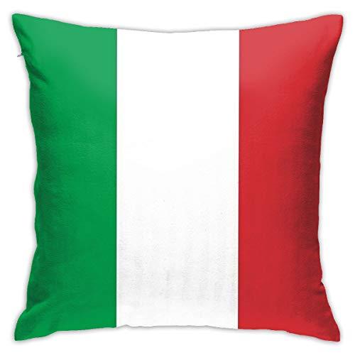 Funda de cojín decorativa de 45 x 45 cm, diseño de bandera italiana, color rojo, blanco y verde, con cremallera oculta