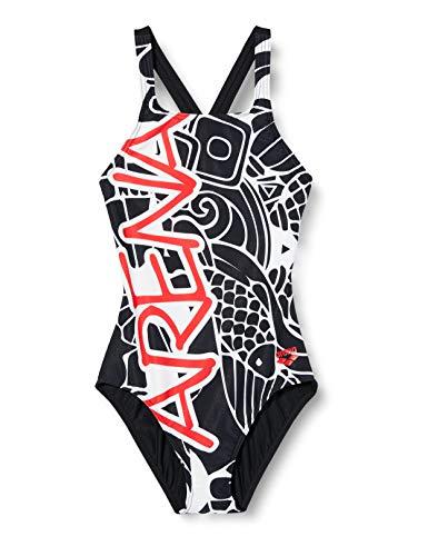 ARENA Mädchen Badeanzug Sport Maneki, Black-red, 152, 002876