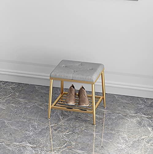 CAMILYIN Zapatero de metal, estante organizador de 1 nivel con asiento acolchado de piel sintética para entrada, pasillo, sala de estar, color dorado