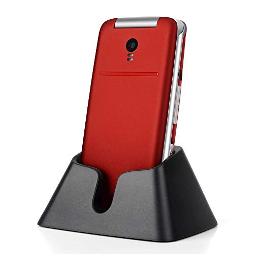Artfone Big Button Mobile Phone For Elderly - Unlocked Senior Flip Mobile Phone, SOS Mobile Phone, Senior Mobile Phone with Charging Dock(Red)