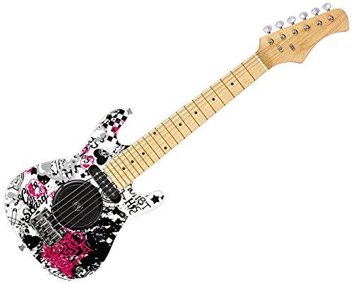 Lexibook K2500L elektrische gitaar met geïntegreerde versterker 6 W, design 100% girly, handleiding inbegrepen batterij, zwart/wit