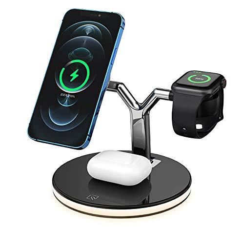 ffs Compatible con iPhone Watch & Pods 3 en 1 cargador magnético inalámbrico rápido con luz nocturna.