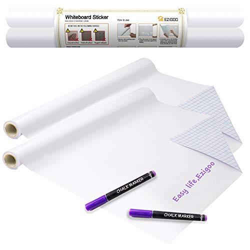 pizarra blanca adhesiva - Etiqueta autoadhesiva de papel de pizarra blanca para pared 43 x 210 CM - 2 rollos, para tablero de mensajes para oficina, hogar o escuela con 2 marcadores de tiza
