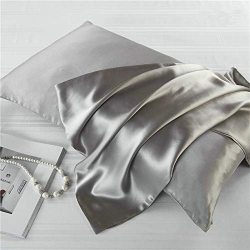 U/A Solid color 100% 16mome double-sided natural mulberry silk pillow case 51 * 76cm with hidden zipper