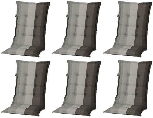 Madison 6 x 8 cm Hochlehner Auflage C 404 Pete Grey, grau, anthrazit, schwarz gestreift, 120 x 50 x 8 cm
