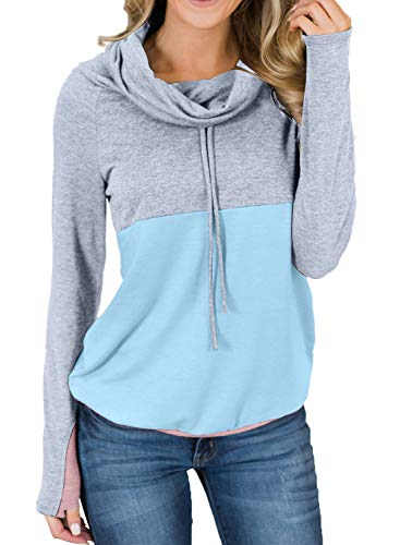 ROSKIKI Womens Long Sleeve Casual Tunic Cozy Winter Shirts Funnel Neck Sweatshirts Drawstring Lightweight Colorblock Pullover Tops Green M