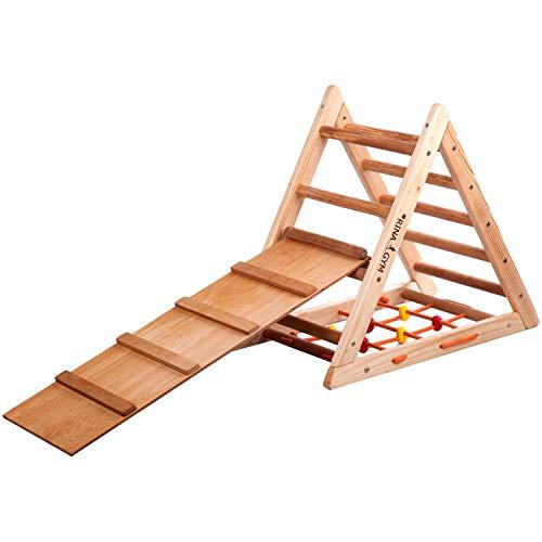 RINAGYM Kletterdreieck für Kinder - Klettergerüst aus Holz - Leiter, doppelseitige Rutsche, Spielnetz - Indoor-Spielplatz, Spielturm, Kletterturm für Kinder - Hält bis zu 60kg Gewicht