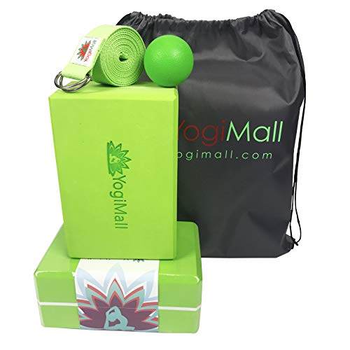 YogiMall Yoga Blocks 2 Pack Strap Carry Bag amp Ball 5in1 Yoga Kit OR Knee Pad amp Bag Set MustHave Yoga Set for Every Yogi High Density EVA Foam Blocks Helps to Improve Your Poses amp Flexibility
