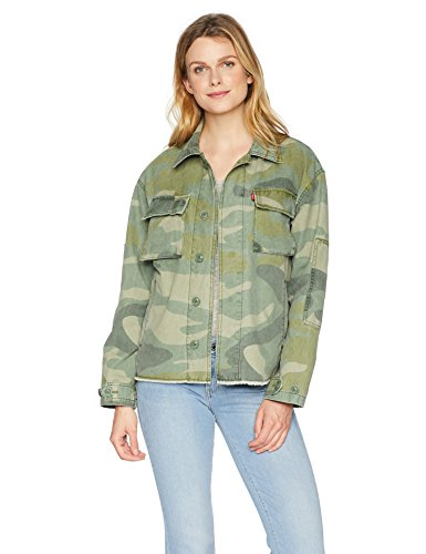 Womens Cotton Two Pocket Camouflage Shirt Jacket