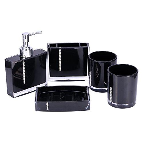 5-Stück Acryl Badezimmer Set Bad Accessoire Set Lotion-Flaschen Zahnbürstenhalter Zahn-Becher Seifenschale (Schwarz)
