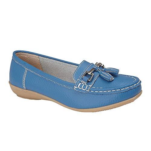 Jo & Joe Ladies Leather Loafer Shoes Plimsole Pumps Womens Flat Shoes French-Blue Size UK 6 EU 52