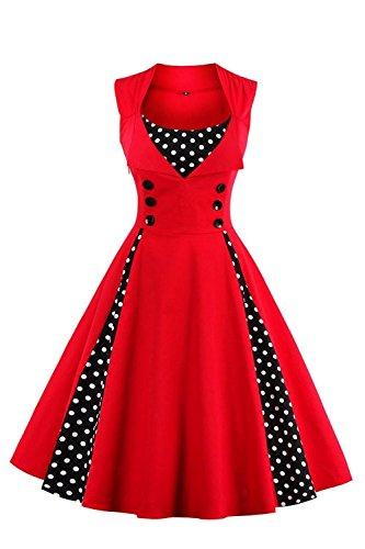 AXOE Robe Femmes Vintage des Années 50 Elégantes avec Boutons et Pois Rockabilly Grande Taille 5XL