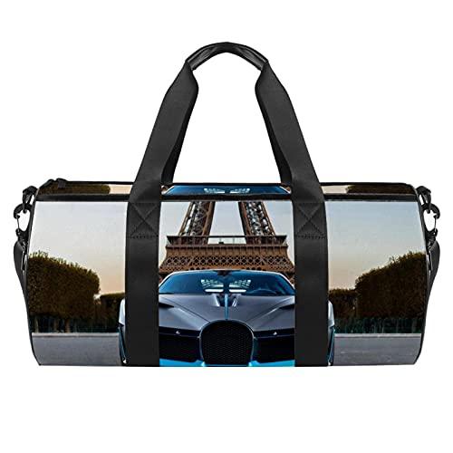 Borsa sportiva da palestra, borsa da ballo media leggera e resistente, con illustrazione di lupo selvatico, borsa da viaggio per uomini e donne, 45 x 23 x 23 cm, The Blue Car 036, 45x23x23cm,