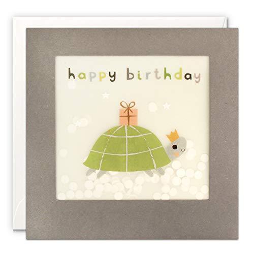 James Ellis PP3340 Geburtstagskarte mit Schildkröten-Motiv, Grau