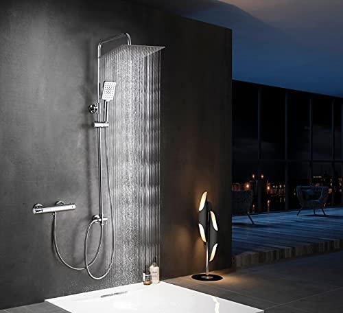 Elbe®Columna ducha sin grifo, con alcachofa de ducha cuadrada de 30cm en acero inoxidable 304