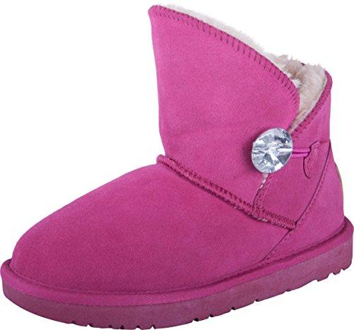 Almwerk Damen Winter-Stiefel Boots Kurzschaft aus Echtleder warm gefüttert, Größe:40, Farbe:Pink