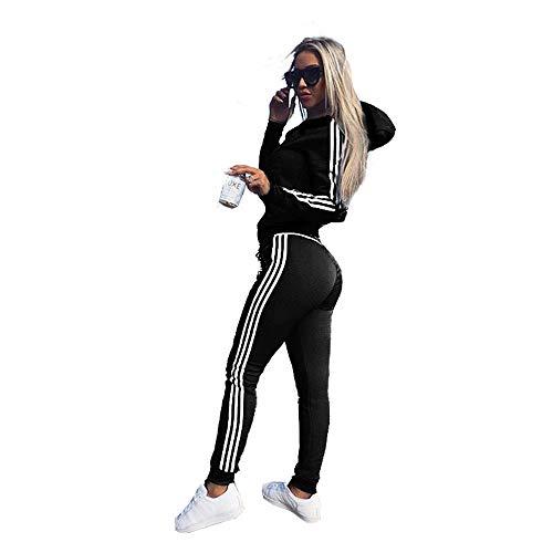 Damen Trainingsanzug Jogginganzug Sportanzug Fitness Kapuzen Hoodie, 2 Stücke Set Outfit Sport Yoga Fitness Bodycon Slim Jogginganzug U-Ausschnitt Langarmhemd Crop Top + Leggings (Schwarz,M/36)