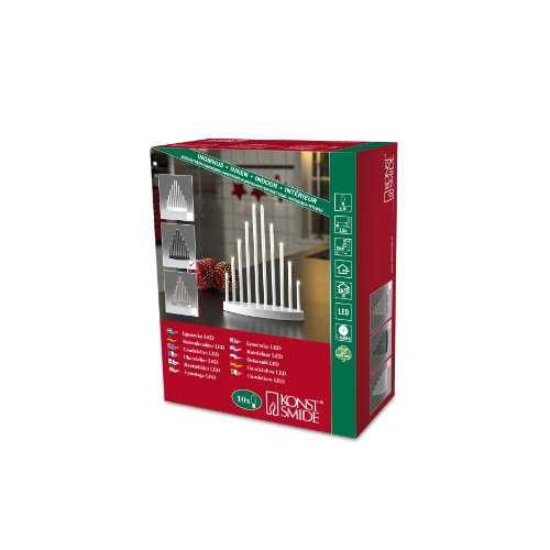 Konstsmide 2401-710TR LED Metallleuchter schwarz lackiert / für Innen / 3V Innentrafo / 10 warm weiße Dioden / transparentes Kabel