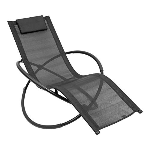 GardenKraft 19180 Louis Moon Rocking Sun Lounger/Garden Chair with Pillow/Zero Gravity Effect/Steel Frame/Ultra-Durable Texteline Material/Black Colour, L 152 x W 77 x H 89cm