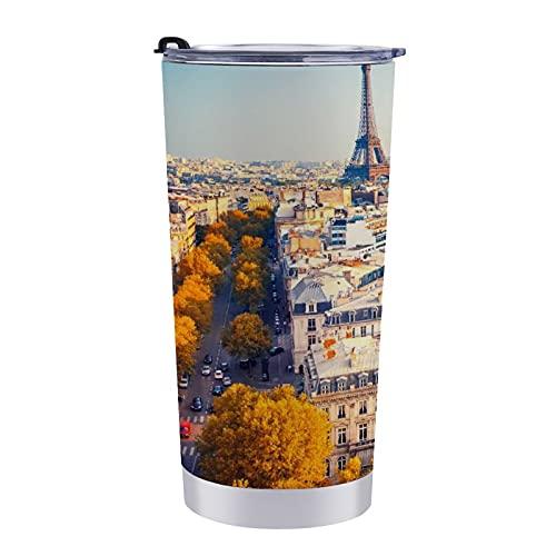 Francia Houses Roads Autumn Paris Street Vaso de viaje, taza de café de 597 ml para mantener frío o caliente para mamá, papá y niños, vacaciones navideñas.