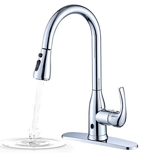 Berührungsfreie Küchenarmatur, Einhebelmischer, hoch sitzender, biegsamer Hals, mit zwei Sensoren, modernes Design, für warmes und kaltes Wasser, Wasserhahn mit UK-Standard-Beschlägen, Chrom