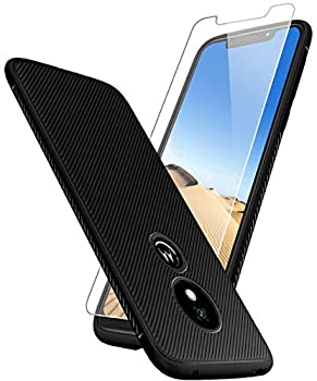 Moto G7 Play Case with [9H Tempered Glass Screen Protector] Sunnyw Flexible Soft Ultra-Thin Light TPU Rubber Shock Absorption Non-Slip Rugged Durable Armor Snugly Fit Case for Moto G7 Play  Black