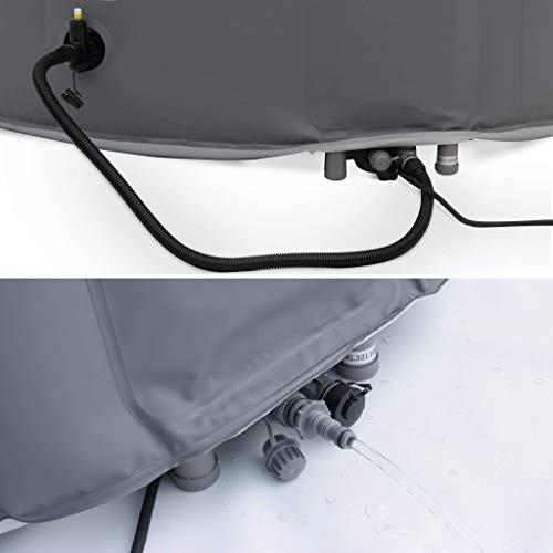 Spa MSPA Gonflable Rond – Kili 6 Gris - Jacuzzi 6 Personnes Rond 205 cm, PVC, Pompe, Chauffage, gonfleur, Filtre, bâche avec Cadenas et télécommande de contrôle