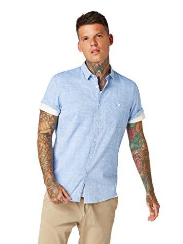 TOM TAILOR DENIM Blusen, Shirts & Hemden Leicht strukturiertes Kurzarmhemd Fineliner Stripe White, S