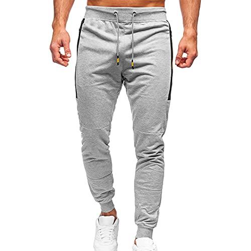 2021 Pantalones de chándal para hombre, pantalones de deporte, fitness, tiempo libre, pantalones de chándal con bolsillos, gris, M
