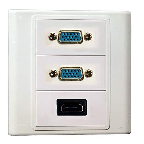 Placa de Pared, VGA + VGA + HDMI,Keystone Multimedia Audio Video D-Sub Pantalla del Monitor Conectores Placa de Enchufe Blanco Decorativos Montaje del Dispositivo Cubierta del acoplador (Tipo:86)