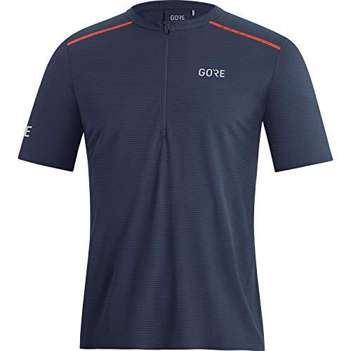 GORE WEAR Camiseta de manga corta de running Contest para hombre, Con cremallera, M, Azul marino/Rojo fuego