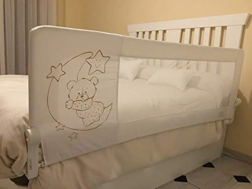 Barrera de cama para bebé, 150 x 65 cm. Modelo osito y luna beige. Barrera de seguridad.