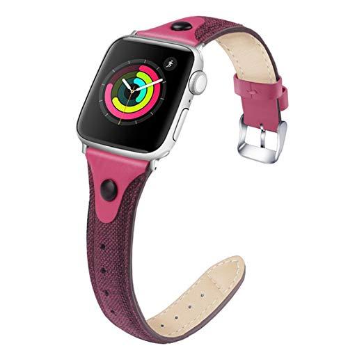 Para Apple Watch Band Iwatch 1 2 3 4 5 Lienzo + Correa de cuero 42mm 38mm 44mm 40mm Pulsera Sport Loop Correa de reloj