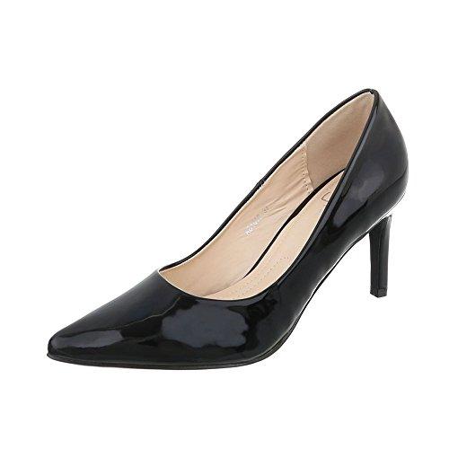 Ital-Design Klassische Pumps Damen-Schuhe Klassische Pumps Pfennig-/Stilettoabsatz High Heels Pumps Schwarz, Gr 38, Ab1016-