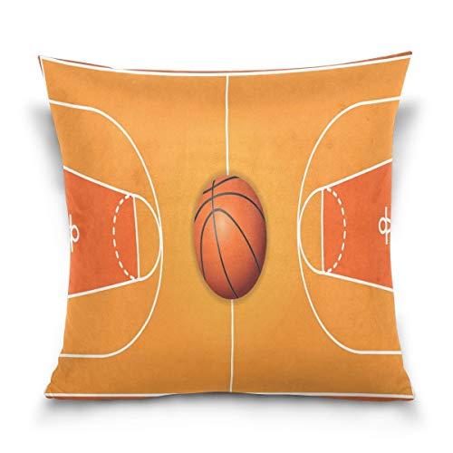 Joe-shop Throw Pillow Funda de cojín Decorativo Cuadrado Vintage Baloncesto Cancha de Madera Sofá Cama Funda de Almohada Funda (18x18 Pulgadas) Lados Gemelos