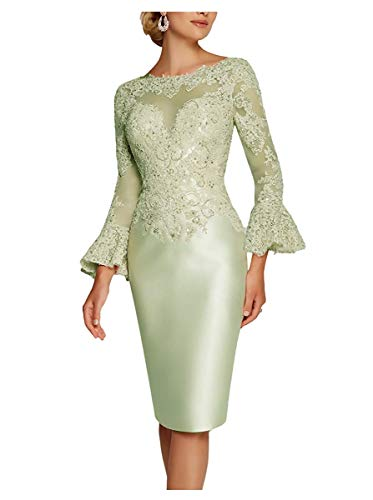 Zaozc Women Mermaid Tea Length Mother of The Bride Dresses Lace Ruffle 3/4 Sleeves Beaded Evening Cocktail Gowns
