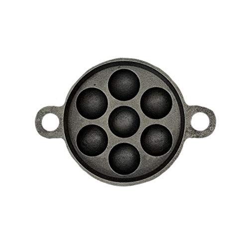 The Indus Valley Pre Seasoned Super Smooth Cast Iron Cookware - Paniyaram Pan - 7pits / Black