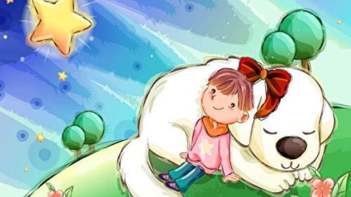 LJJSIFK Pintura de Bricolaje por números para Adultos Kit de Pintura por números en Lienzo para Principiantes-niña Perro-decoración del hogar 16 x 20 Pulgadas (sin Marco)